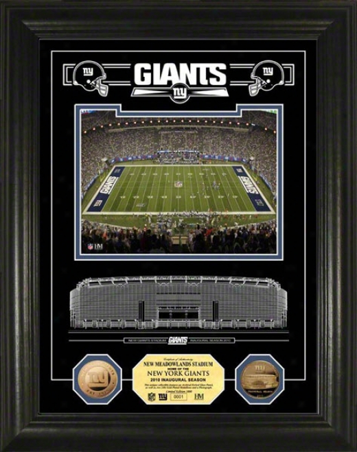 New York Giants Giants Stadium Inaugural Season Etched Glass 24kt Gold Cojn Photo Mint
