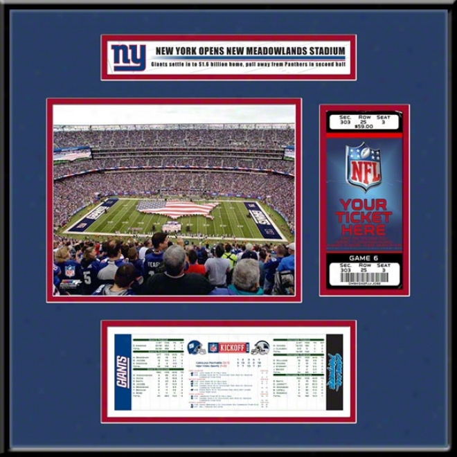 New York Giants New Meadowlands Stadium Inaugural Game Ticket Frame Jr.