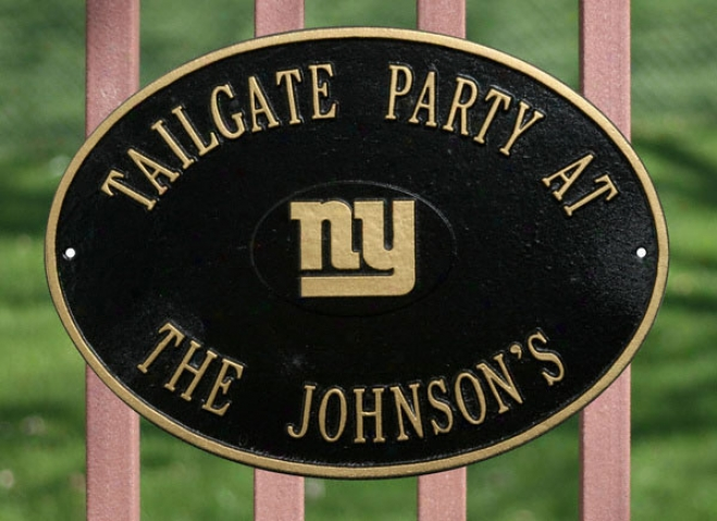 New York Giants Personalized Black And Gold Indoor/outdoor Plaque