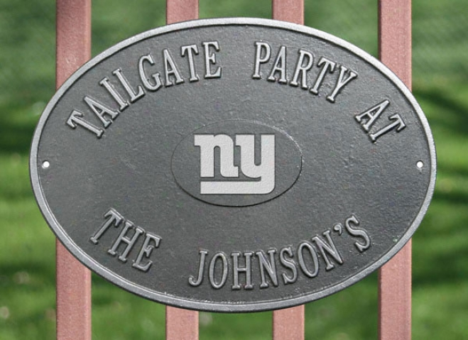 New York Giants Personalized Pewter And Silver Indoor/outdoor Plaque