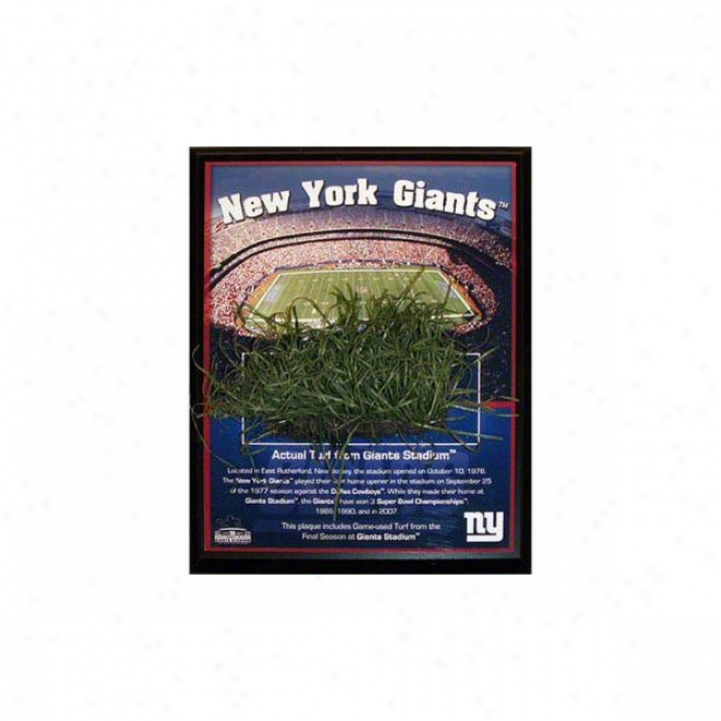 Novel York Giants Plaque With Game Used Turf