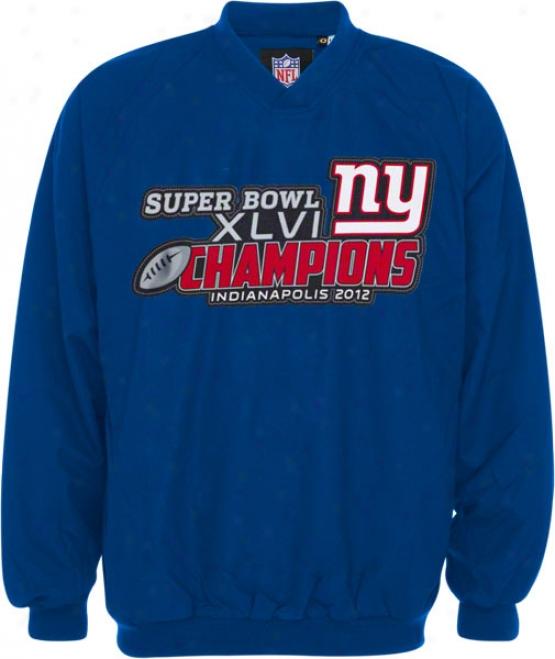 New York Giants Royal Super Bowl Xlvi Champions Full Chest Embroidered Sideline Pullover Jacket