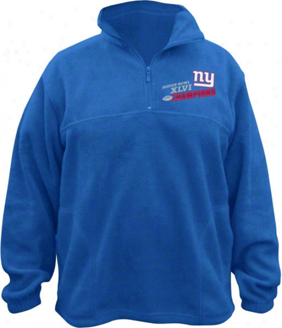 New York Giants Royal Super Bowl Xlvi Champions Quarter Zip Alpine Pullover Jacket