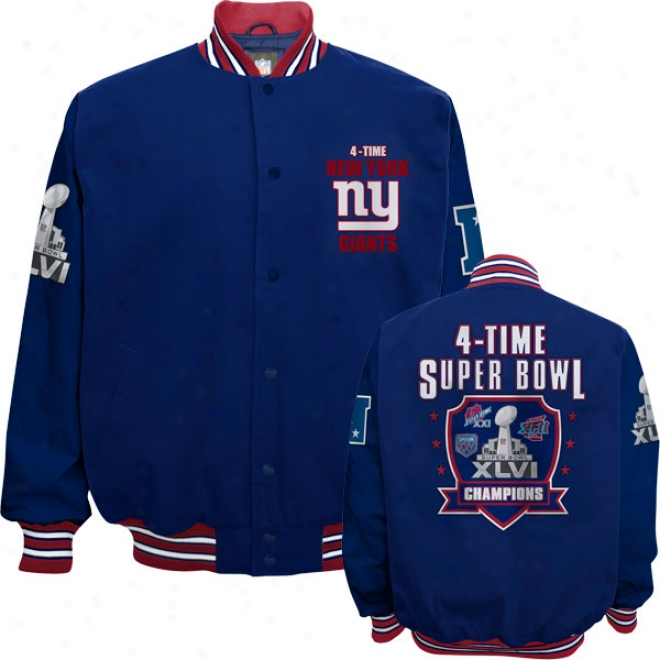 New York Giants Super Bowl Xlvi Champions 4-ttime Commemorative Cotton Canvas Jacket
