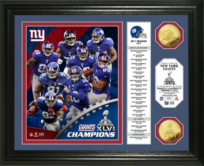Repaired York Giants Super Bowl lXvi Champions Gold Coin Banner Photo Mint