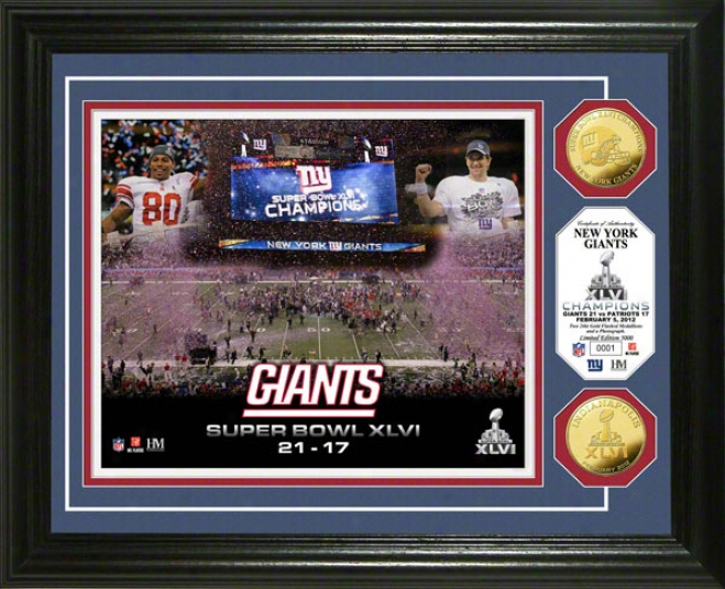 New York Giants Super Bowl Xlvi Champions Gold Coin Commemoration Photo Mint