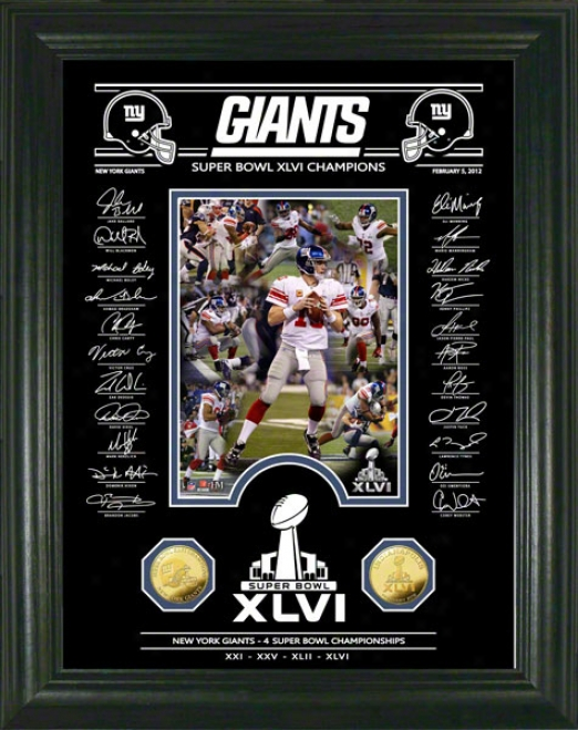 New York Giants Super Bowl Xlvi Champions Gold Coin Signature Etched Glass Photo Mint