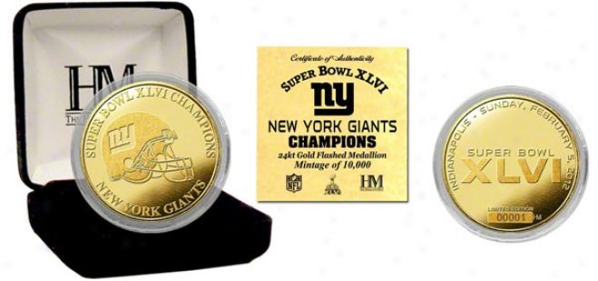 New York Giants Super Bowl Xlvi Champions Gold Coin