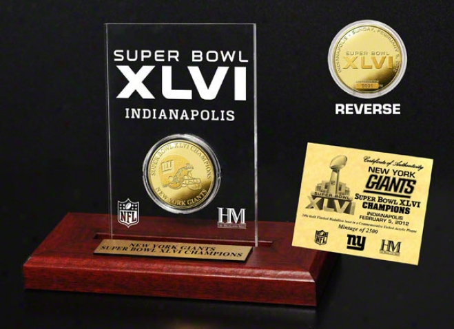 New York Giants Super Bowl Xlvi Champions Gold Etched Acrylic
