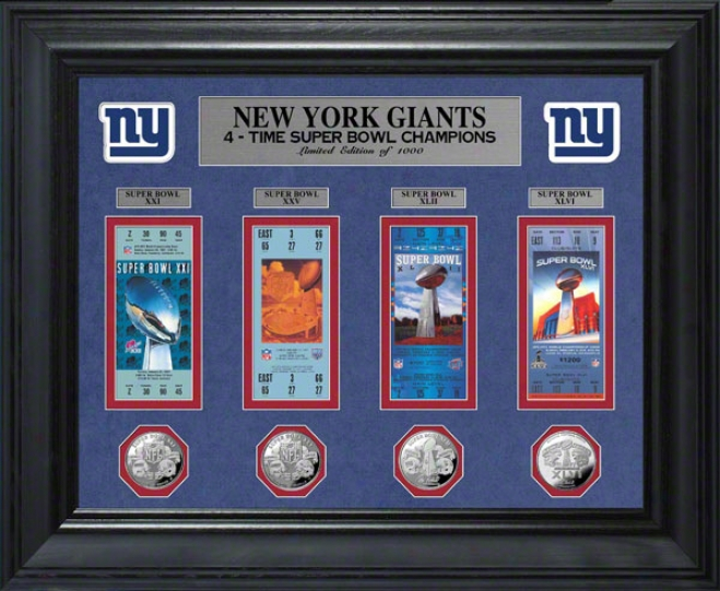New York Giants Super Bowl Xlvi Ticket And Game Invent Collection Framed