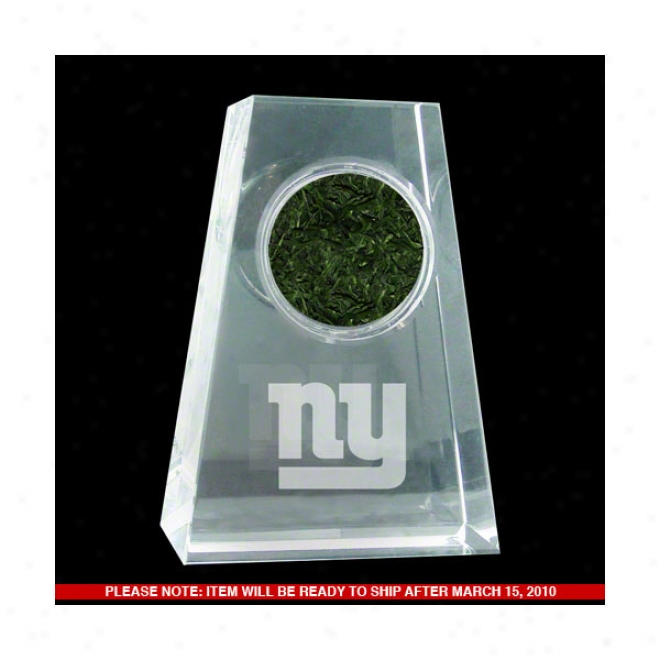 New York Gaints Tapered Crystal With Logo & Game Used Turf