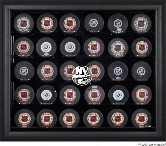 New York Islanders Framed 30 Hockey Puck Logo Display Case