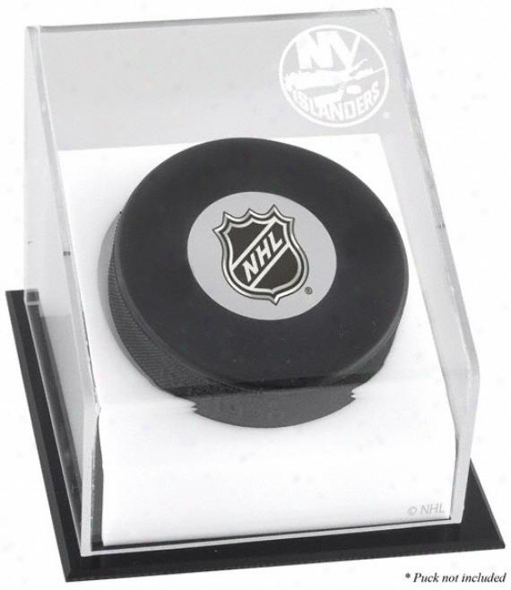 Recent York Islznders Hockey Puck Logo Display Case