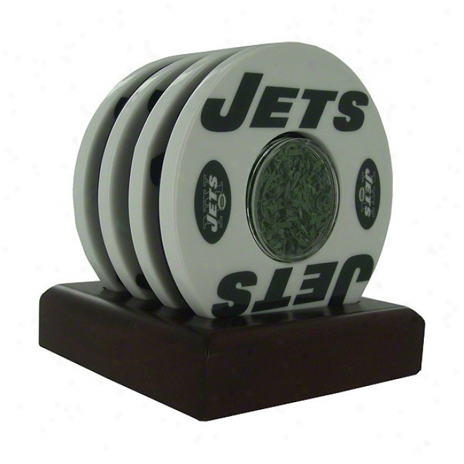 New York Jets 4 Pack Coaster Set With Game Used Turf