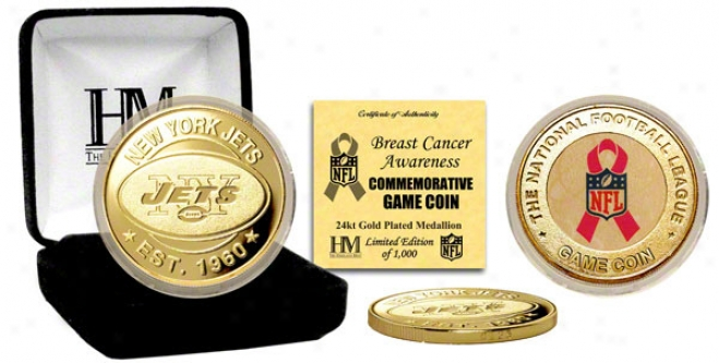 New York Jets Breast Cancer Awareness 24kt Gold Game Coin