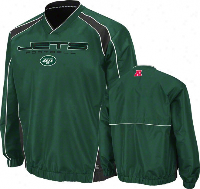 New York Jets Coach's Choive Ii Green Lightweight Pullover Jacket