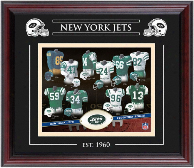 New York Jets - Evolution - Framed 8x10 Collage With Laser Etching