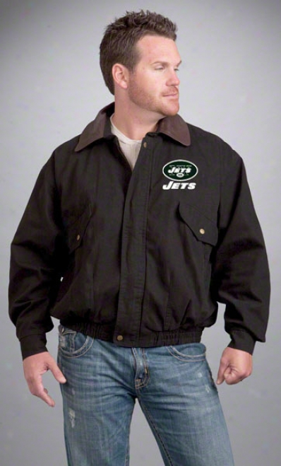 New York Jets Jacket: Black Reebok Navigator Jacket