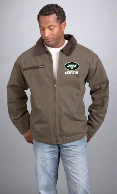 New York Jets Jacket: Olive Reebok Tradesman Jacket