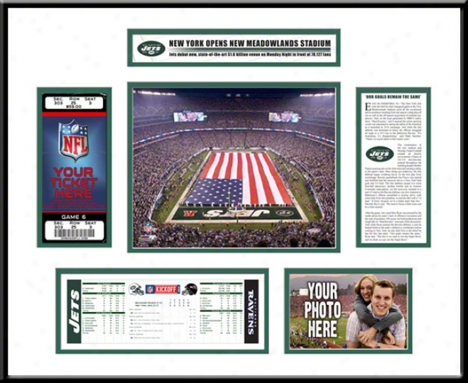 New York Jets New Meadowlands Stadium Inaugural Game Ticket Frame