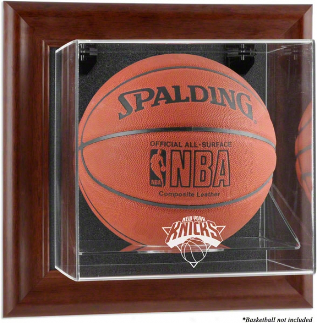 New York Knicks Framed Wall Mounted Logo Basketball Display Case
