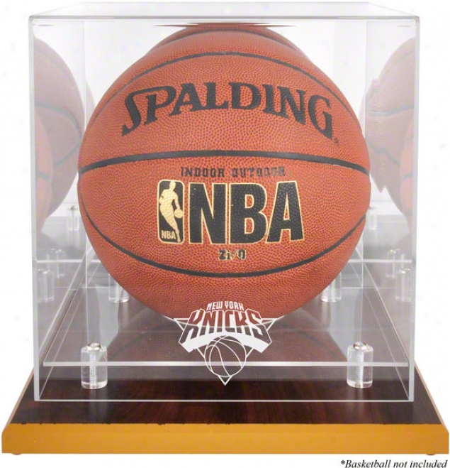New York Knicks Woodbase Logo Basketball Display Case And A Mirror Back