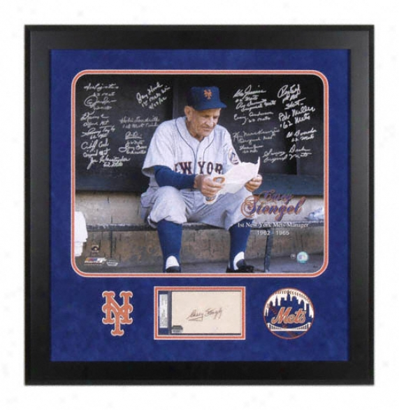 New York Mets 1962 Team Autographrd 16x21 Framed Photograph With Casey Stengel Autograph