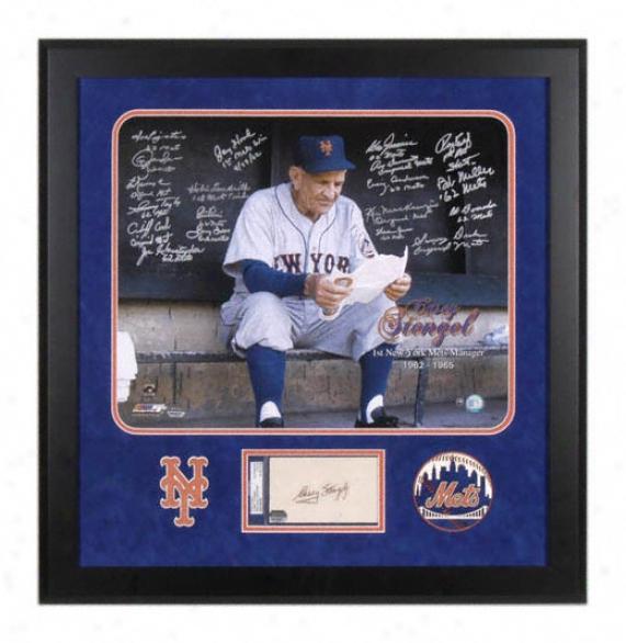 New York Mets 1962 Team Autographrd 16x21 Framed Photograph With Casey Stengel Autograph