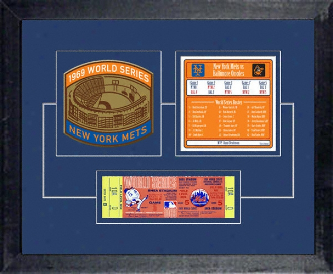 New York Metd 1969 World Series Replica Ticket & Patch Frame