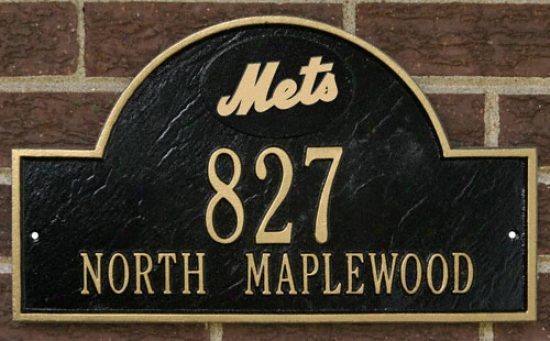 New York Mets Black Anf Gold Personalized Address Wall Brooch