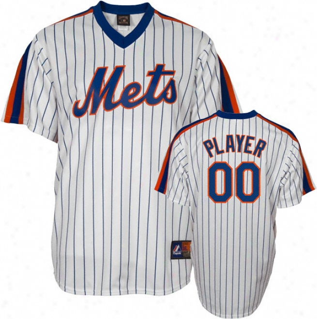 New York Mts Cooperstown White/royal -any Player- Replica Jersey