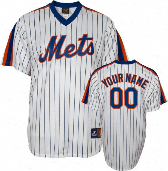 New York Mets Cooperstown White/royal -personalized With Your Name- Replica Jersey