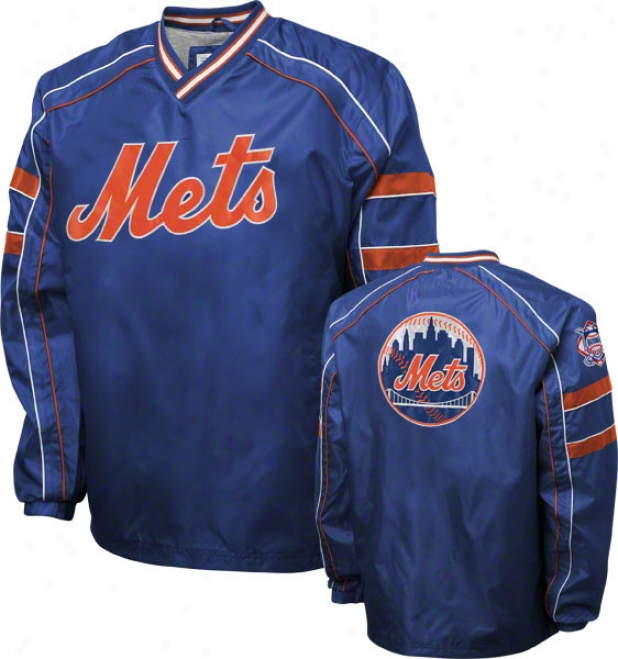New York Mets Royal V-neck Pullover Jacket