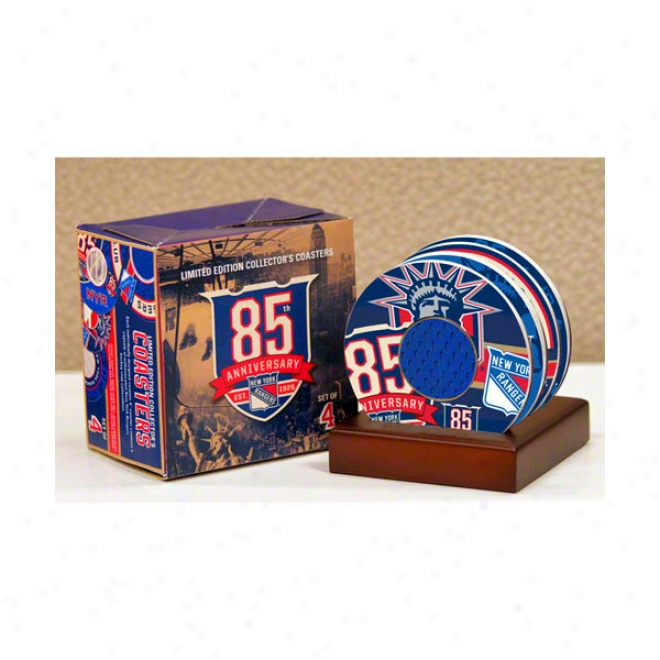 New York Rangers 4 Pack Coaster Set With Game Used Jerseg & Net