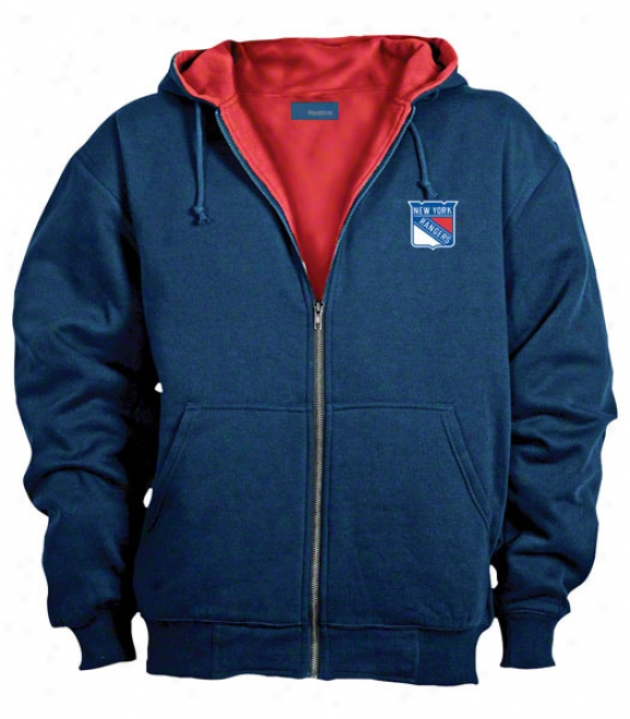 New York Rangers Jacket: Blue Reebok Hooded Craftsman Jacket
