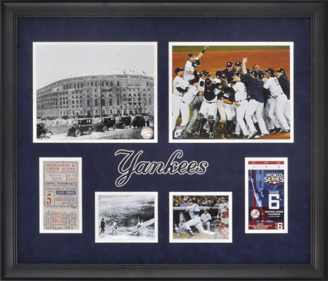 New York Yankees 1923 And 2009 World Series Replica Ticket Framed Collage