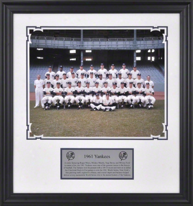 New York Yankees 1961 Team Framed 16x20 Photograph With Descriptive Nameplate