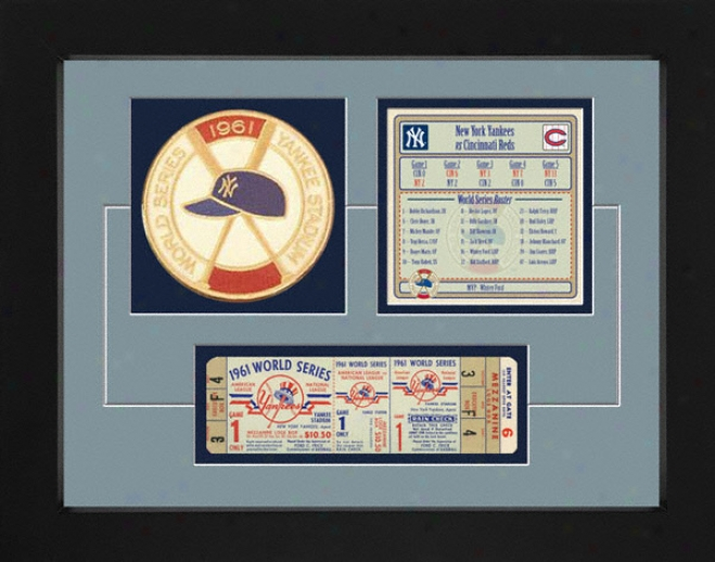 New York Yankees 1961 World Series Replica Ticket & Patch Frame