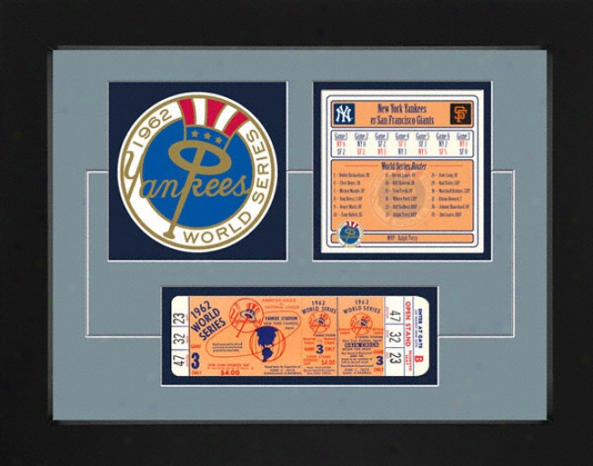 New York Yankees 1962 World Series Replica Ticket & Patch Frame