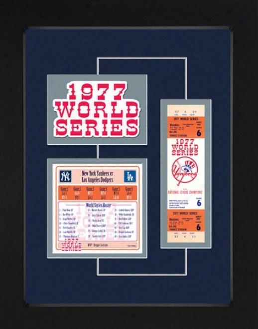 New York Yankees 1977 World Series Replica Ticket & Patch Frame