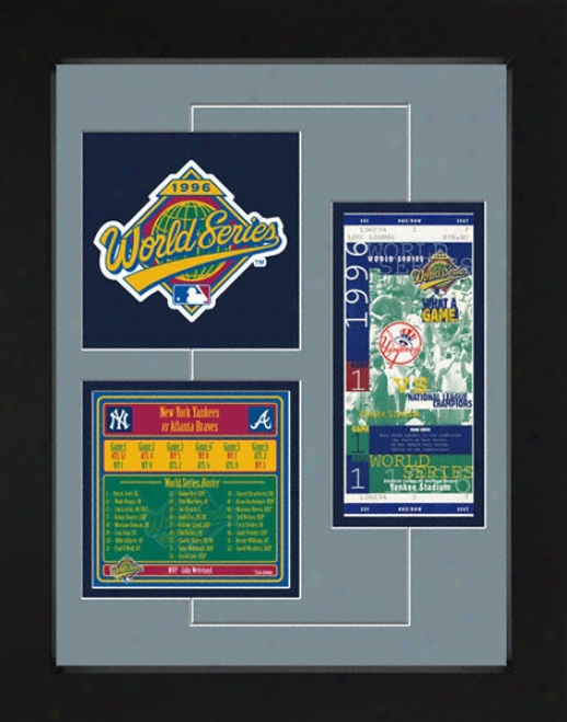 New York Yankees 1996 World Series Replica Ticket & Patch Frame