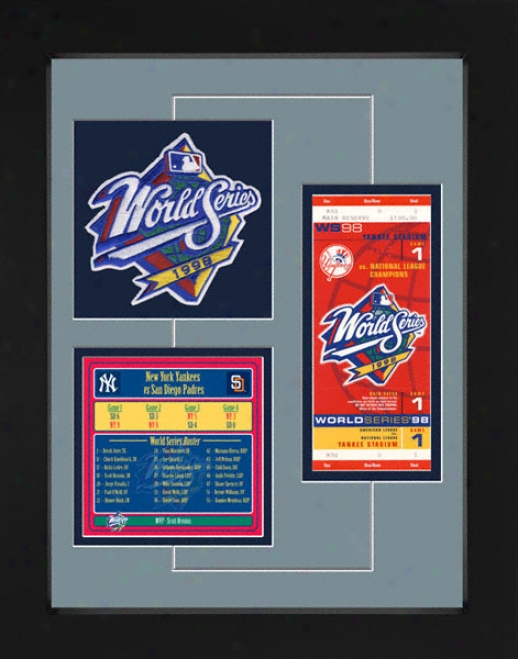 New York Yankees 1998 World Series Replica Ticket & Patch Frame