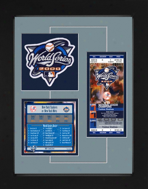 New York Yankees 2000 World Series Replica Ticket & Patch Frame