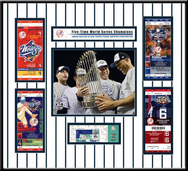 New York Yankees 2009 World Series Champions Core Four Replica Ticket Frame
