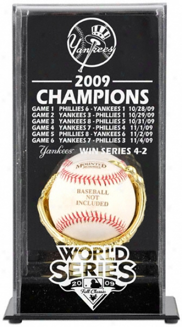 New York Yankees 2009 World Series Champions Display Case Witb Life Series Baseball