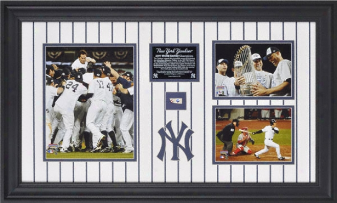 New York Yankees 2009 World Series Champs 3-photo Framed Collectable With Game Used Baseball- Le Of 500
