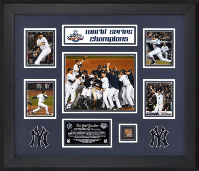 New York Yankees 2009 oWrld Series Champs Framed Photo Collage With Game Used Dirt