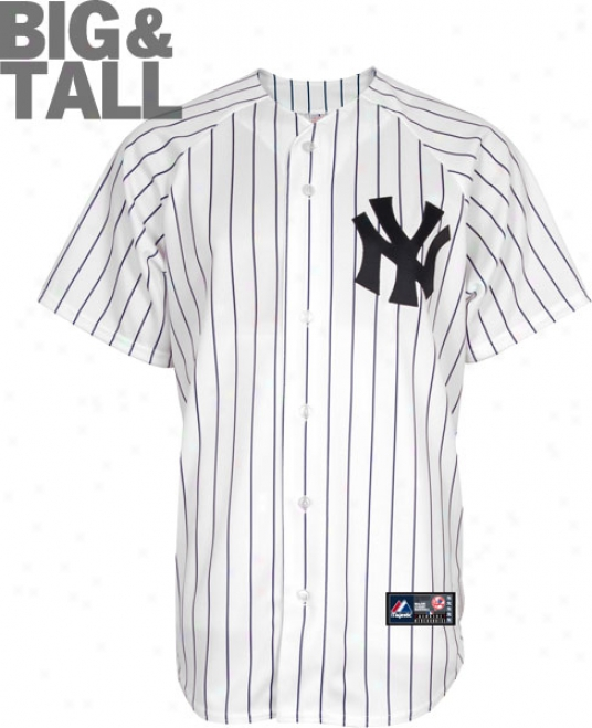 New York Yankees Big & Tall Home Pinstripe Mlb Replica Jersey