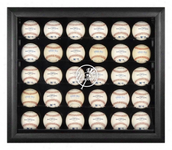 New York Yankees Black Framed 30-ball Logo Display Case