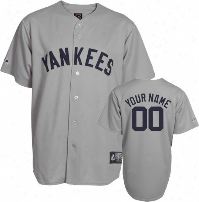 Nea York Yankees Cooperstown Grey -personalized With Your Name- Replica Jersey